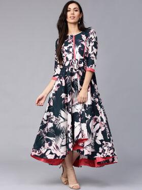 Rain & Rainbow Women Navy Blue Printed Maxi Dress