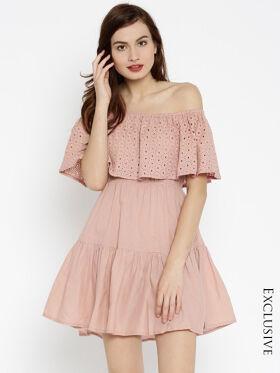 SASSAFRAS Women Pink Fit & Flare Dress