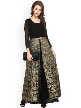 Ahalyaa Women Black & Gold-Toned Woven Design Anarkali Kurta