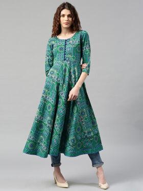 Libas Women Blue & Green Printed Anarkali Kurta